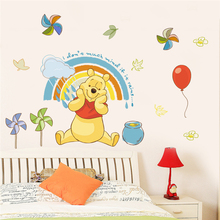 40*60cm Disney Winnie Pooh Wall Stickers For Kids Rooms Home Decor Cartoon Animals Decals Pvc Mural Art Diy Posters