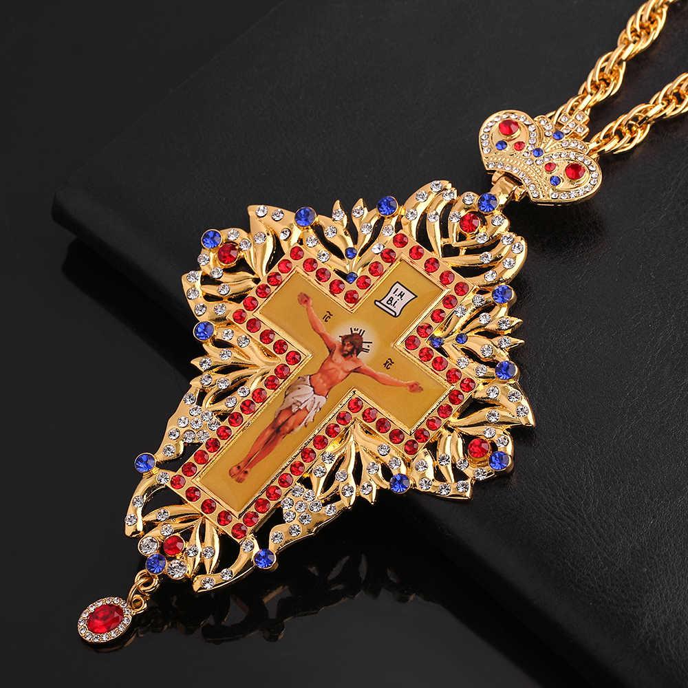 Berkualitas Tinggi Pectoral Cross Ortodoks Yesus Salib Liontin Rantai Manik Perhiasan Agama Pastor Doa Item