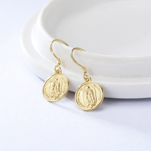 Silvology 925 Sterling Silver Figure Coin Stud Earrings Gold Round Western Style Drop for Women Friendship Jewelry Gift