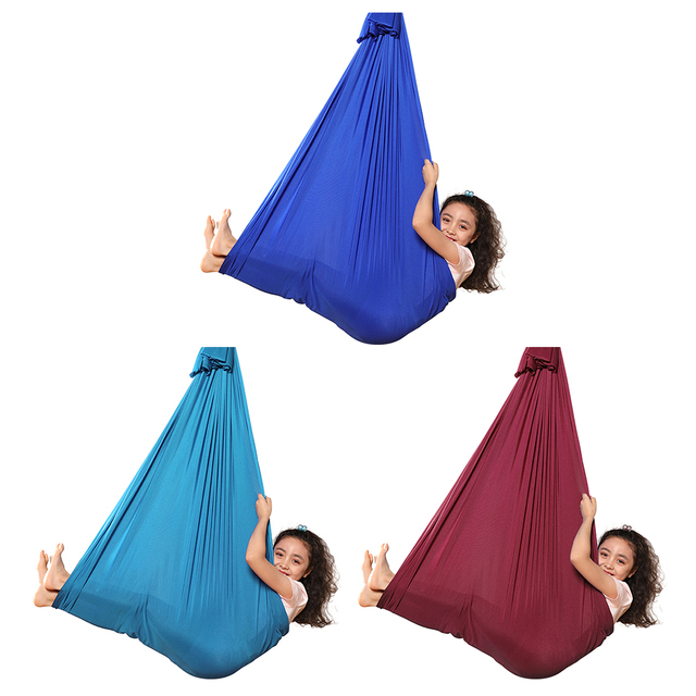 Multifunctional Elastic Kids Children Hanging Cuddle Wrap Swing Seat for Autism ADHD ADD Therapy Aerial Yoga Hammock 2