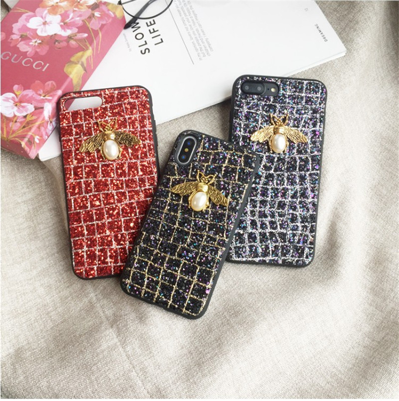 Luxury glitter baby bee for iphone XS Max XR 6 6s 7 8 plus mobile phone shell soft female