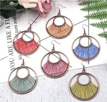 Creative Colorful Silk Round Circle Drop Earring Female New Fashion Earrings For Women Jewelry Gifts цены