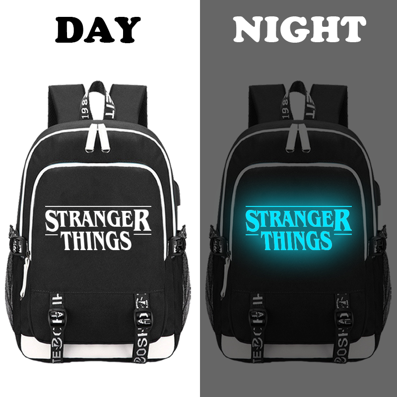 Image 3 - Stranger Things Teenage Backpack for Boys Girls Luminous School Bag USB charging Anti theft and Waterproof backpack for school-in Backpacks from Luggage & Bags