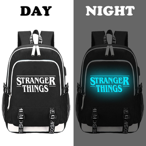 Image 3 - Stranger Things Teenage Backpack for Boys Girls Luminous School Bag USB charging Anti theft and Waterproof backpack for school
