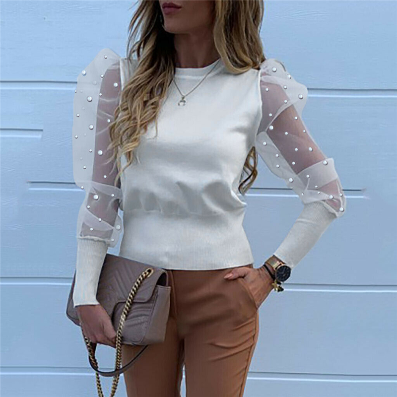 Fashion 2020 Women O Neck Blouses Mesh Tulle Ruffle Shirts Long Puff Sleeve Shirt Solid Color Lady Shirts Autumn Women OL Tops