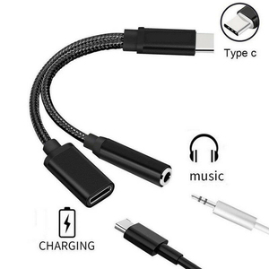 Two-In-One Adapter Cable TYPE-C To 3.5mm Adapter USB-C Type C To 3.5mm Splitter Headphone Jack Cable For Iphone Xiaomi Huawei