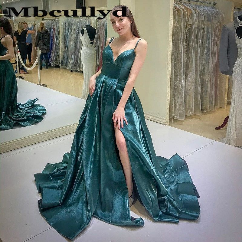 Mbcullyd Dark Green Prom Dresses With Split 2020 Sexy Backless Evening Party Gowns For Women Cheap Plus Size robe de soiree