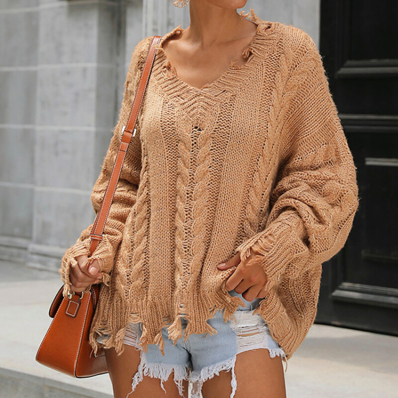 Women's Ladies V Neck Long Sleeves Loose Oversize Knitted Sweater Dress Tops