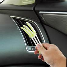 Double Slider Car Clean Tools Brush Car Air Conditioner Vent Slit Auto Keyboard Supplies Versatile Cleaning Brush Vent Brush(China)