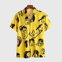 2020 Summer New Mens Holiday Beach Style Short Sleeve Hawaiian Shirts yellowr Printing Casual Flowe Shirt For Men Blouse Loose