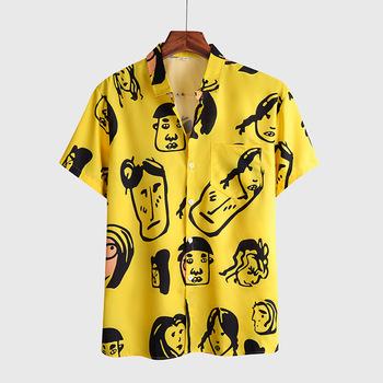 2020 lato nowy mężczyzna wakacje plaża styl hawajskie koszule z krótkim rękawem yellowr drukowania dorywczo Flowe koszula dla mężczyzn bluzka luźne tanie i dobre opinie Raise Trust CN (pochodzenie) COTTON POLIESTER KOSZULE CODZIENNE krótkie Wykładany kołnierzyk Jednorzędowe REGULAR ZY1136
