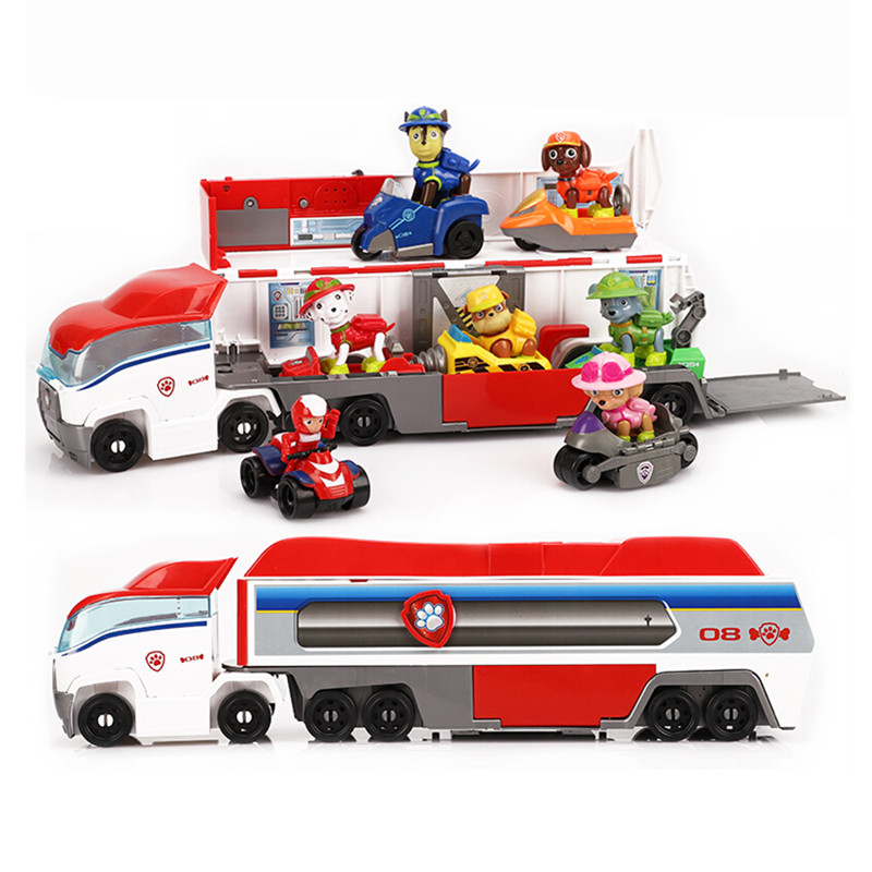 Paw Patrol Toys Puppy Dog Sliding Team Big Truck Toy Music Rescue Team Toy Patrulla Canina Juguetes Action Figures Toy Gifts Set