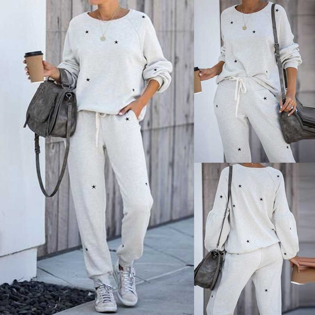 2Pcs Women Tracksuit Pentagram Print Pants Sets Leisure Wear Lounge Wear Suit