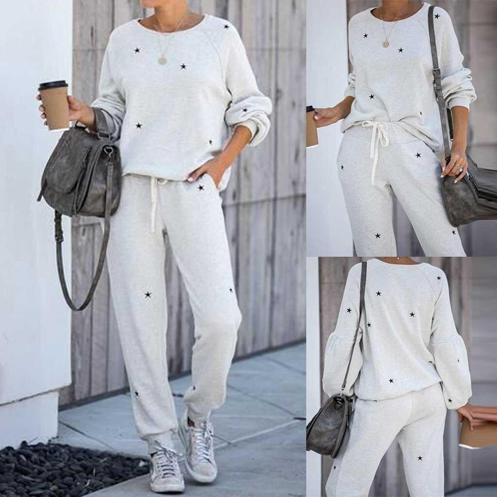 2Pcs Women Tracksuit Pentagram Print Pants Sets Leisure Wear Lounge Wear Suit