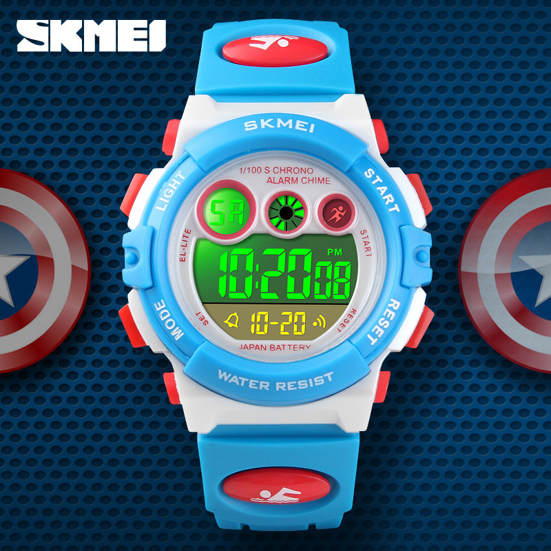 <font><b>Skmei</b></font> Fashion Students Electronic Watch Colorful LED Night Light Creative-Children Waterproof Watch <font><b>1451</b></font> image