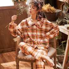 Autumn Fall New Ladies Pajamas Set Retro Plaid 2Pcs Comfort Soft Cotton Sleepwear Turn-down Collar Satin Homewear Casual Wear