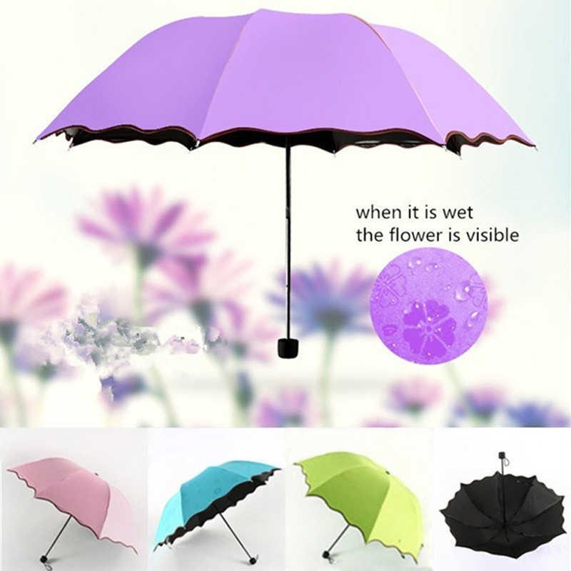 פשוט אופנה נשים מטריית Windproof קרם הגנה קסם פרח כיפת אולטרה סגול הוכחה שמשייה שמש גשם מתקפל מטריית