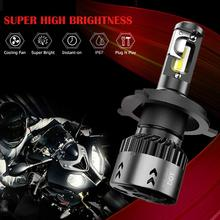 Motorcycle 12-24V H4 / 9003 Moto LED Headlight with Cooling Fans  Fit Most Motorbike Lamps Super White