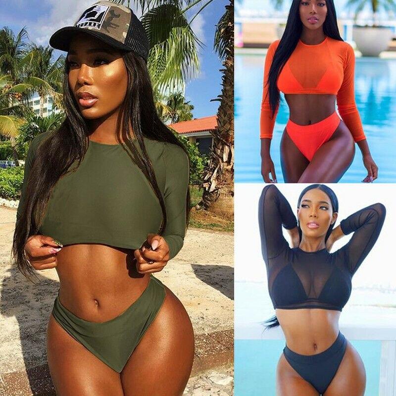 2019 3PCS Women Summer Swimwear Bikini Set Push up Padded Bra High Waist Panties Crop Tops Bathing Suit Swimsuit Beachwear in Body Suits from Sports Entertainment