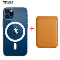 Original para For Magsafe Magnetic magnético funda de carga inalámbrica para iPhone 11 12 13 Pro MAX mini XR X XS X MAX 7 8 Plus magnético titular de la tarjeta