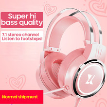 7.1 Surround Sound Pink Headphones Gaming Headset Wired With Microphone Professional Gamer RGB Light For PS4 Phone PC Xbox One(China)
