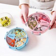 SHAI Escola Picnic Food Frutas 3 Grades Caixa de Armazenamento Recipiente Plástico Saudável Recipiente de Alimento do Aço Inoxidável Caixa de Almoço Portátil
