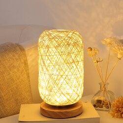 Drewniane rattan sznurek kula świetlna tabeli pokój lamp strona główna sztuka dekoracyjna lampka stołowa LB121211