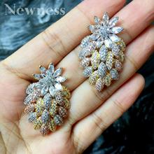 Newness Luxury Flowers Cubic Zircon Crystal CZ Earrings For Women African Bridal Wedding Party Jewelry Earring