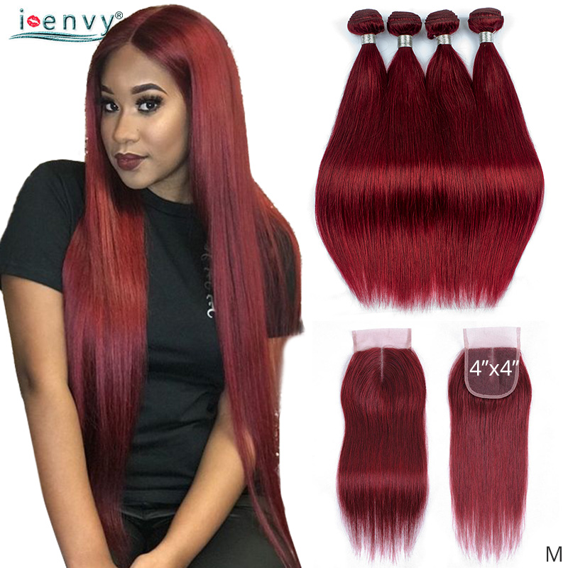 IEnvy Straight 99J Burgundy Bundles With Closure Peruvian Hair Weave Bundles Wine Red Bundles With Closure Colored Hair Non-remy