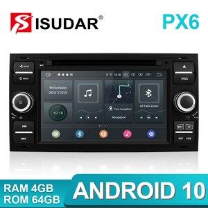 Image 1 - Isudar PX6 2 Din Android 10 GPS Autoradio 7 Cal dla forda/Mondeo/Focus/Transit/C MAX/S MAX/Fiesta samochodowy odtwarzacz multimedialny 4GB RAM