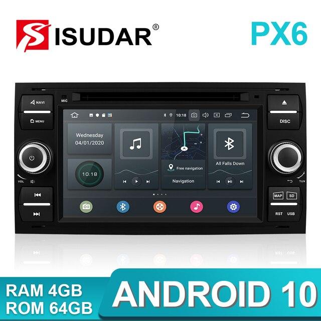 Isudar PX6 2 Din Android 10 GPS Autoradio 7 Cal dla forda/Mondeo/Focus/Transit/C MAX/S MAX/Fiesta samochodowy odtwarzacz multimedialny 4GB RAM