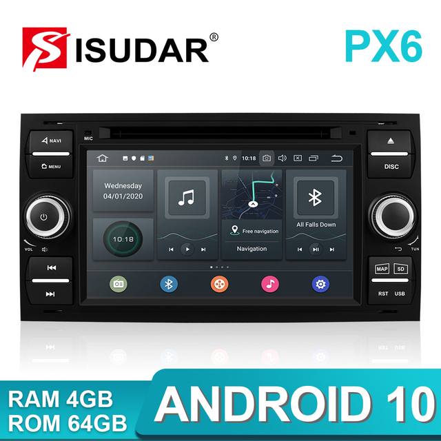 Isudar PX6 2 Din Android 10 GPS Autoradio 7 Inch For Ford/Mondeo/Focus/Transit/C MAX/S MAX/Fiesta Car Multimedia Player 4GB RAM