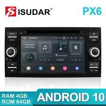 Isudar PX6 2 Din Android 10 GPS Autoradio için 7 inç Ford Mondeo/Focus/s max/C MAX Transit/C MAX/S MAX/Fiesta araba multimedya oynatıcı 4GB RAM