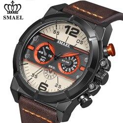 SMAEL Moda Esporte Relógio de Quartzo Dos Homens Top Marca de Luxo Relógio À Prova D' Água Mens Relógios Pulseira de Couro Militar Do Exército Data Relógio de Pulso