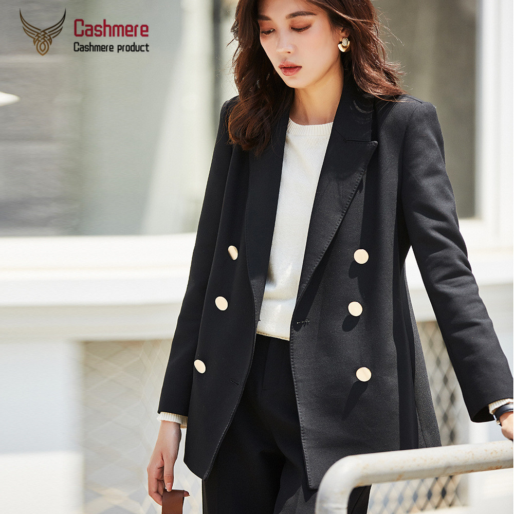 Autumn Slim suit jacket female 2019 new long double-breasted black white suit jacket female solid color