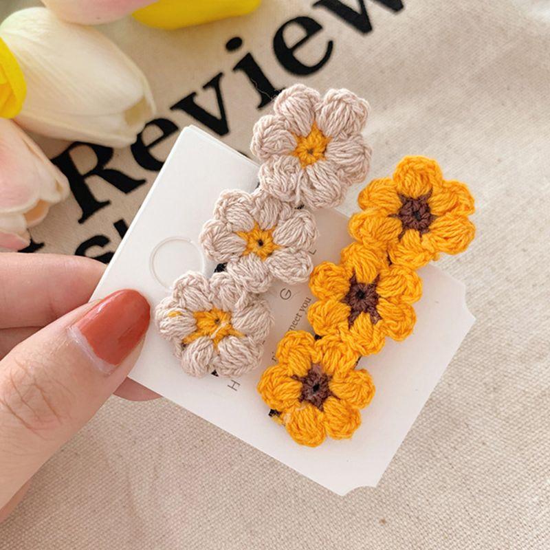 Women Sweet Girls Hair Clip Handmade Crochet Knit Flowers Fall Alligator Hairpin