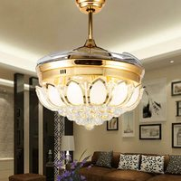 """42"""" Crystal Ceiling Fan Light with Retractable Blades Remote Control LED Chandelier Fan 3 Speeds 3 Colors Changes Lighting"""
