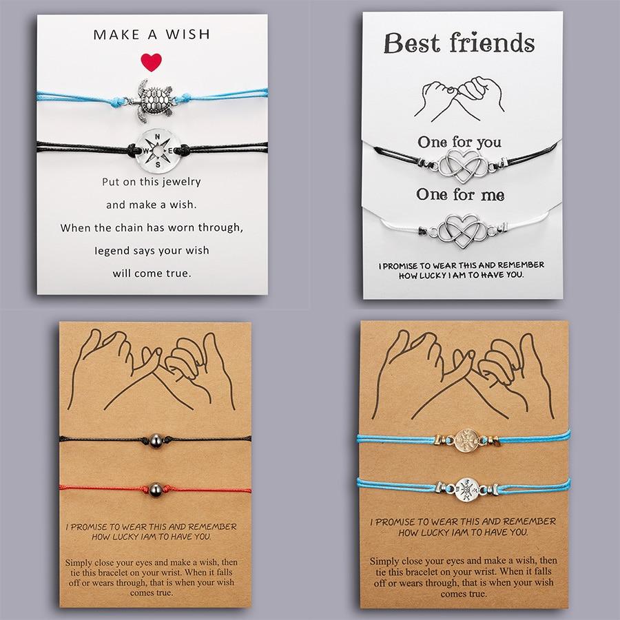 Rinhoo Best Friends Couples Bracelets Set For Women Girl Men Infinite Love Heart Turtle Compass Bracelet 2pcs/set Wish Jewelry