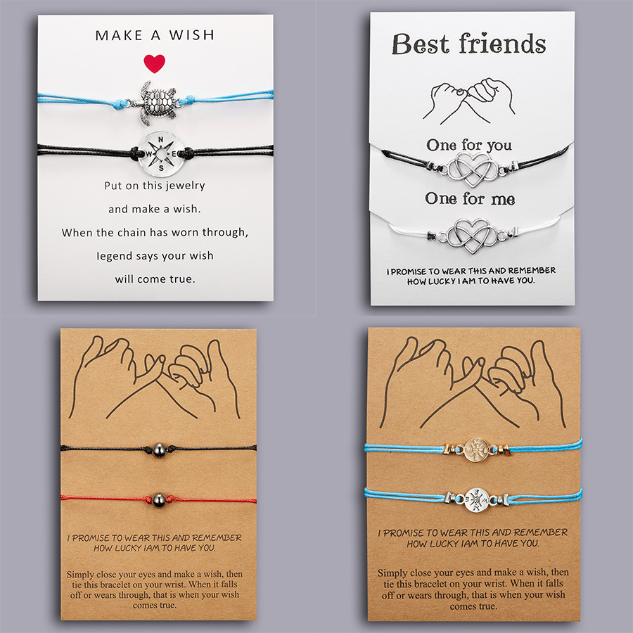 Rinhoo Best Friends Couples Bracelets Set For Women Girl Men Infinite Love Heart Turtle Compass Bracelet 2pcs/set Wish Jewelry image