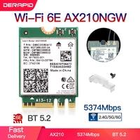 Banda Dual Intel AX210 inalámbrico AX210NGW 2,4 Gbps 802.11AX inalámbrica Wi-Fi 6 AX200 para Intel 8265NGW/9260AC M.2 NGFF tarjeta WiFi Wlan