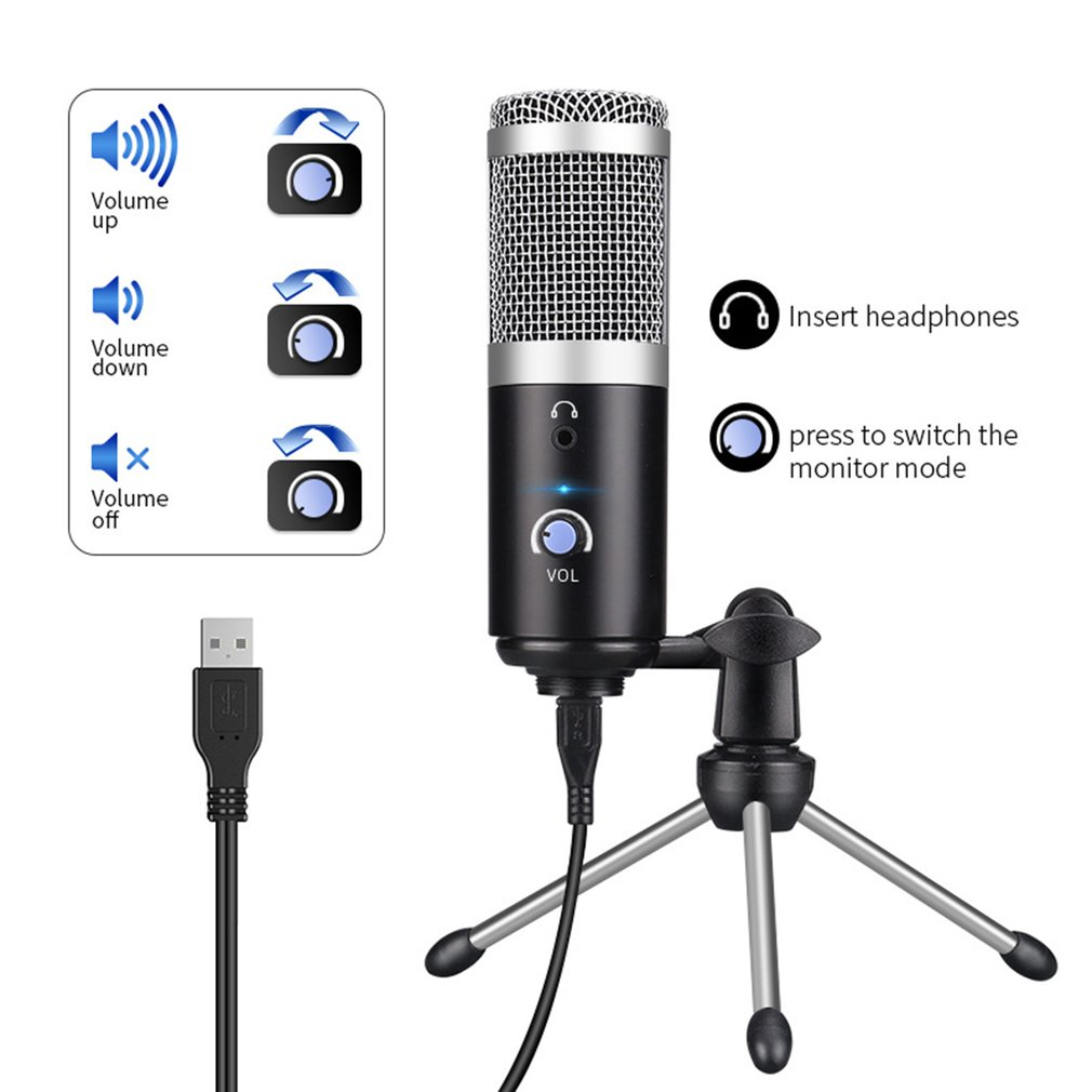 Condenser Microphone Usb Computer Microphone For Youtube Podcast Recording Instrument Play Live Voice Chat Microphone
