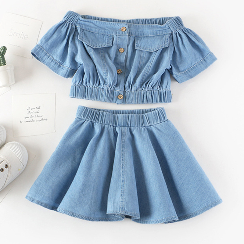 Summer Girls' Clothing Sets Korean Denim Short-sleeved T-shirt+High Waist Skirt 2PCS Baby Kids Clothes Suit Children Clothing