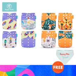 HappyFlute 8 windeln + 8 Einsätze Baby Tuch Windeln One Size Einstellbare Waschbar Reusable Tuch Windel Für Baby Mädchen und jungen