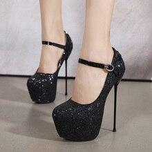 New Shiny Sequin 16 Cm High Heels Women's Pumps Nightclub Party Shoe Size 34-40