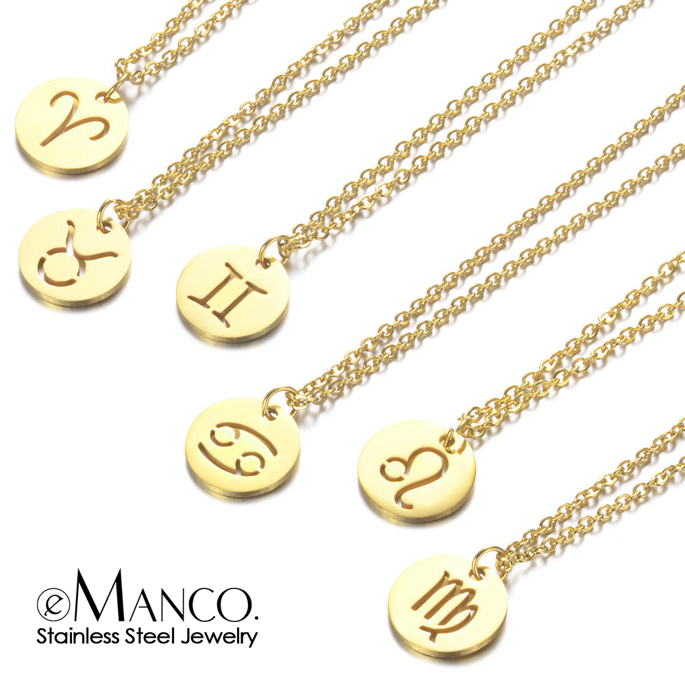 eManco Women 12 Horoscope Zodiac Sign Gold Pendant Necklace Aries Leo 12 Constellations Jewelry Kids Christmas Gifts