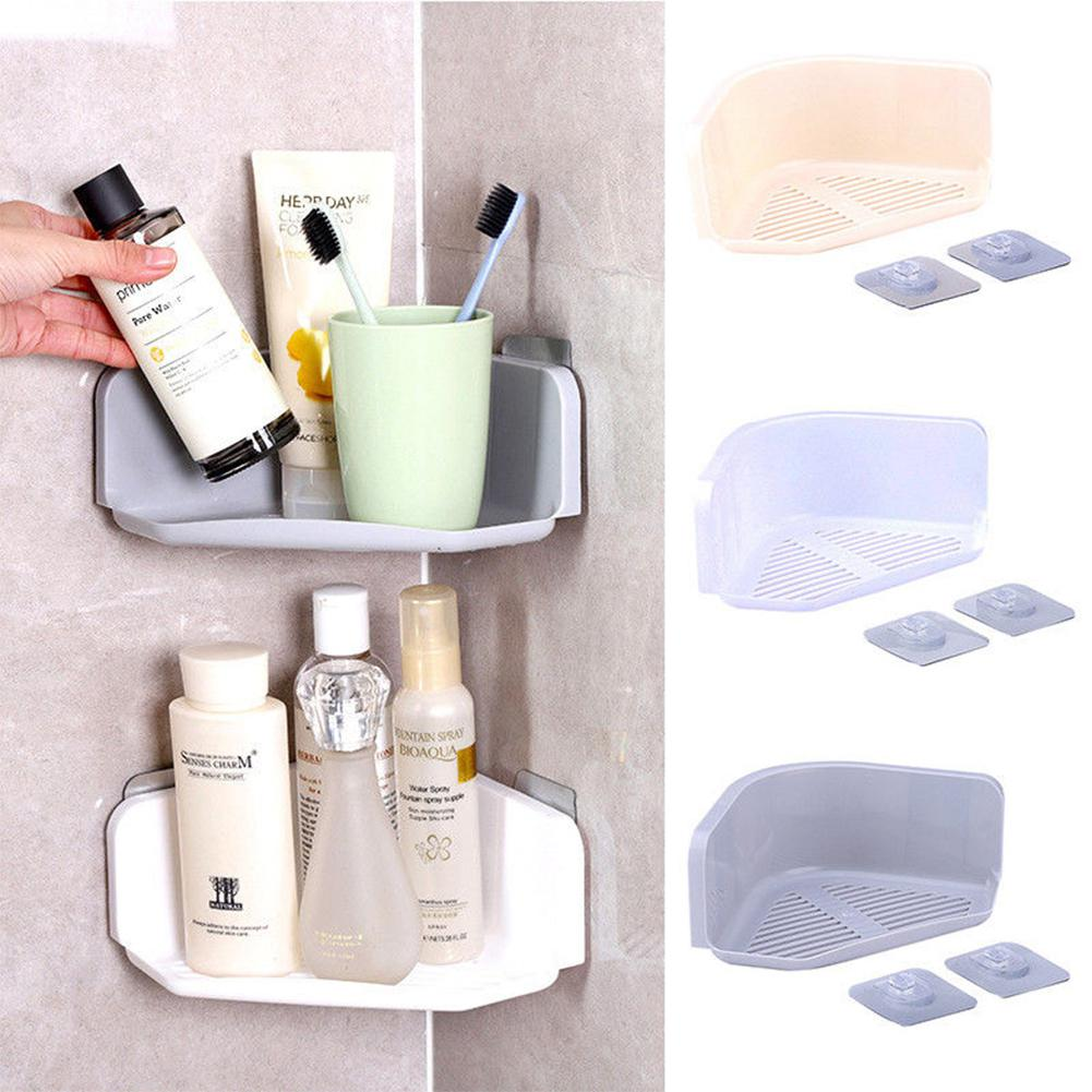 GloryStar Plastic Corner Storage Rack with Seamless Adhesive Shower Shelf Organizer for Kitchen Bathroom Decoration