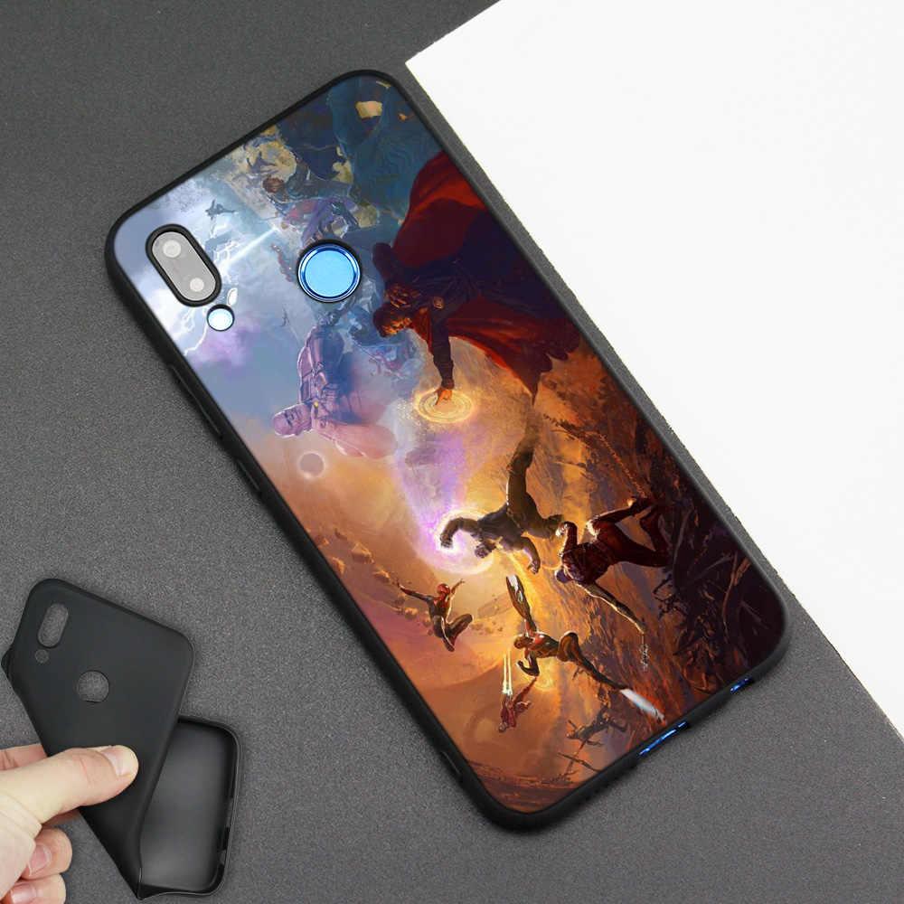 Silicone đen Túi dành cho Huawei P30 P20 P10 P9 Giao Phối 10 20 30 Note 5 5I Lite Pro P Smart Z 2019 Vỏ Marvel Siêu Anh Hùng
