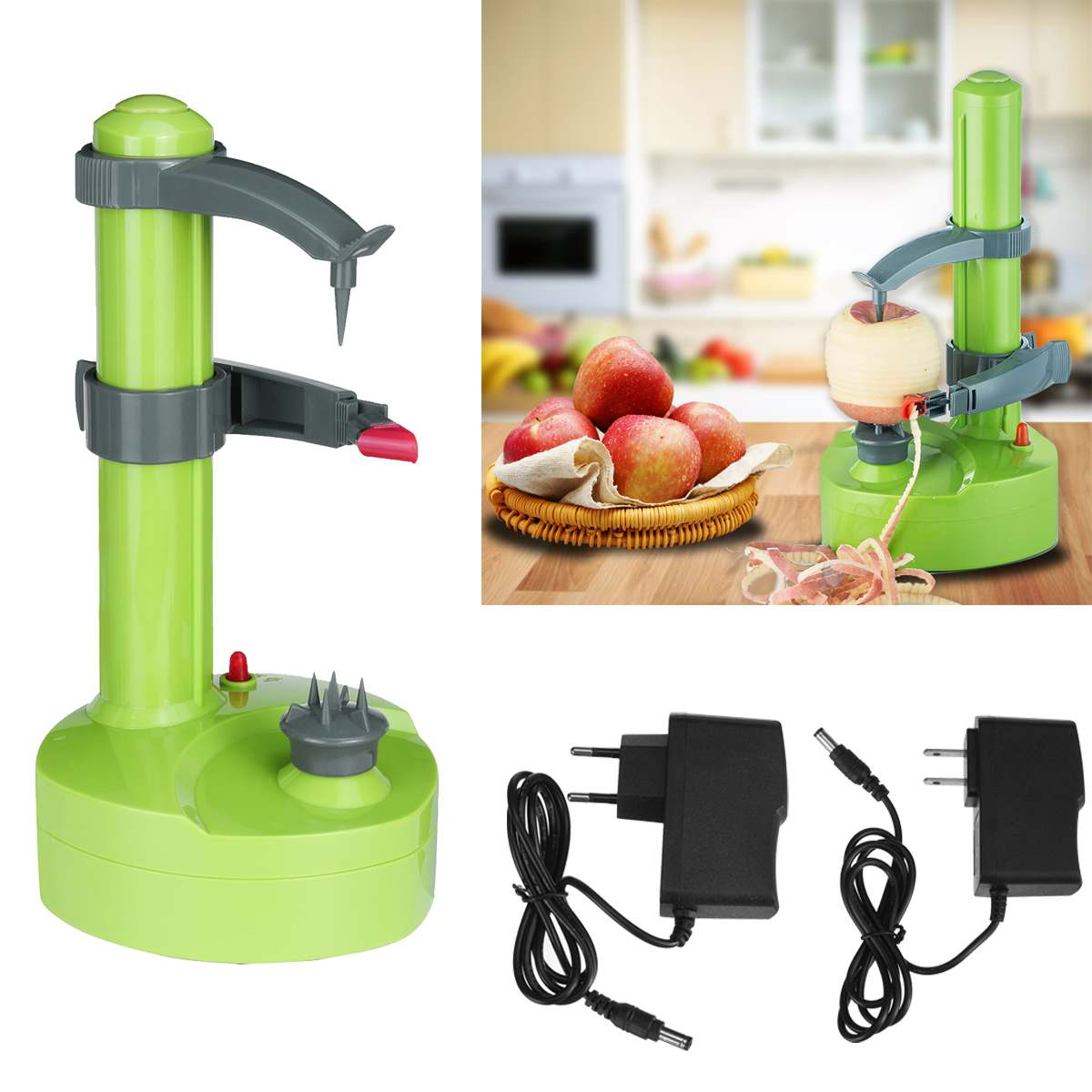 Electric Peeler Multifunction Stainless Steel Auto Fruit Peeler Vegetable Cutter Three Spare Blade Potato Peeler 110V/220V