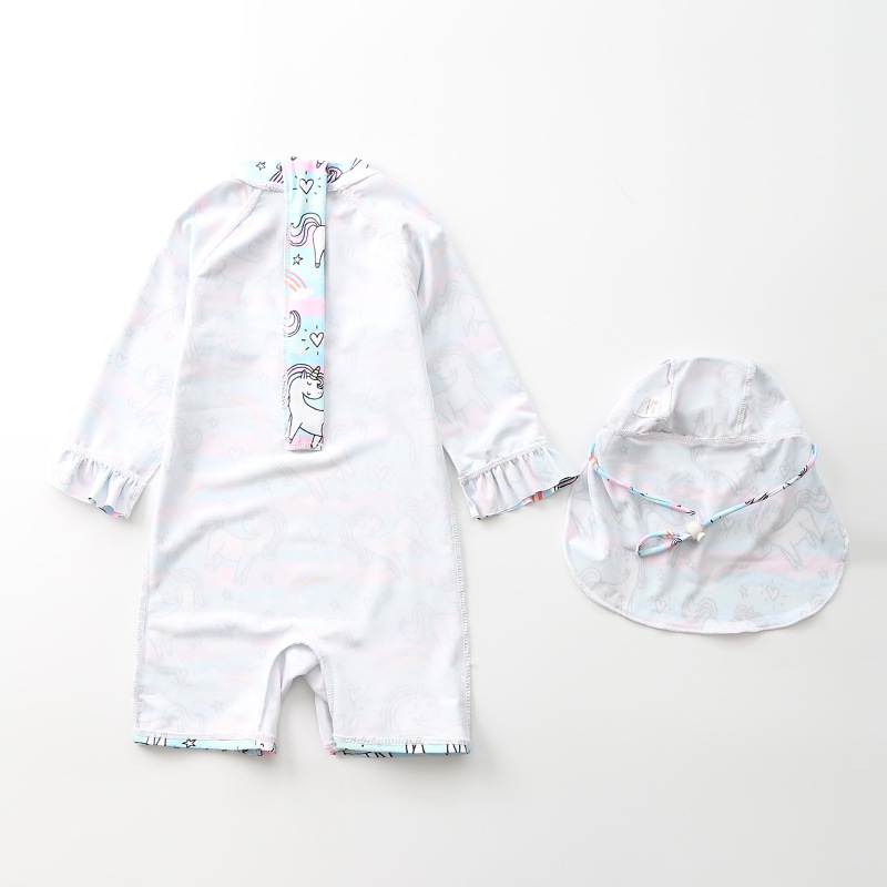 INS KID'S Swimwear Baby Girls One-piece Rainbow Unicorn Swimwear Cute Children Infant Girls Swimwear