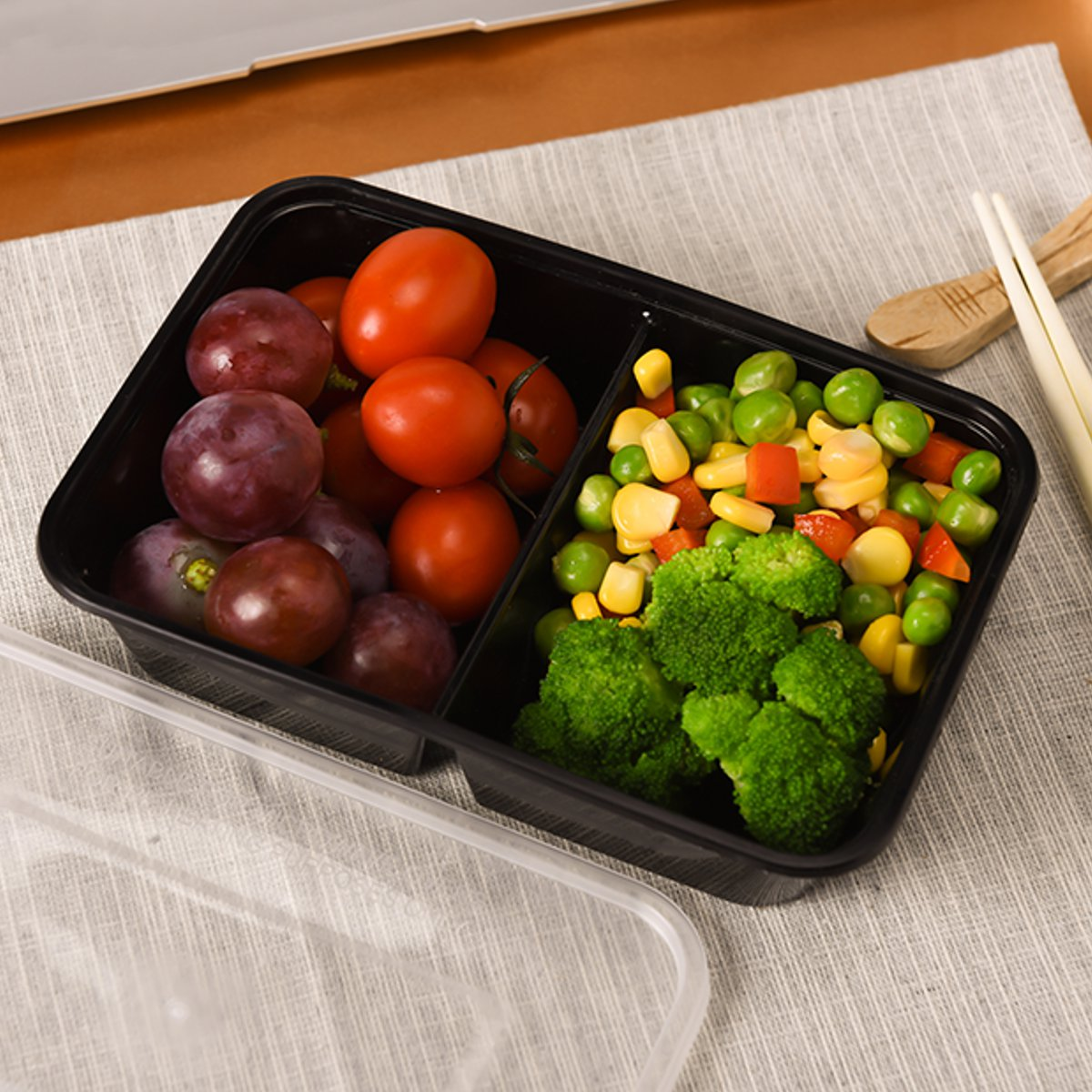 10Pcs Set Meal Food Containers Plastic Food Storage Microwave Reusable 2 Compartment Lunch Box 500ml Food Storage Containers Lunch Boxes     - title=